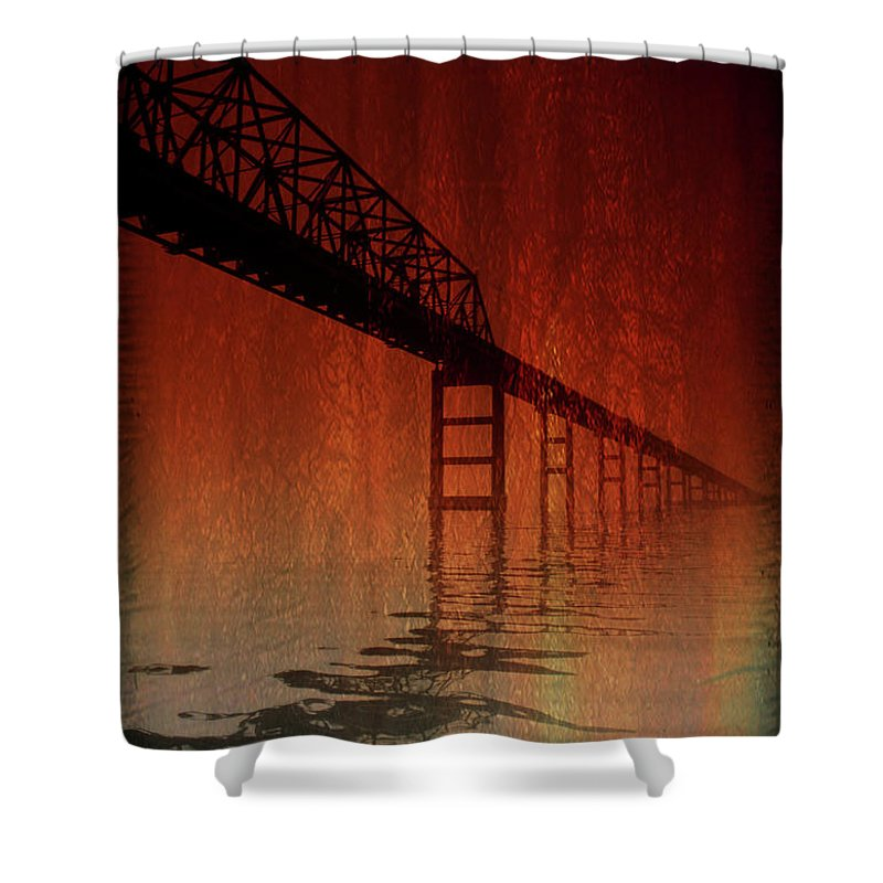 Bridge Shower Curtain featuring the photograph Key Bridge Artistic In Baltimore Maryland by Skip Willits