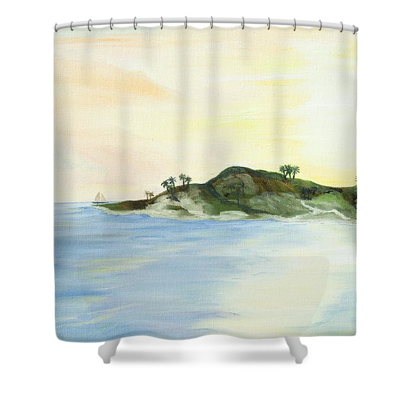 Sunset Painting Shower Curtain featuring the painting Key Lime by Christine Baeza