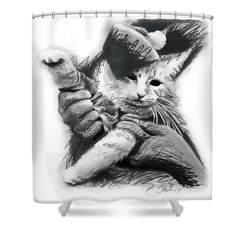 Charlie Schmidt Shower Curtain featuring the drawing Keyboard Cat in Pencil by Charlie Schmidt