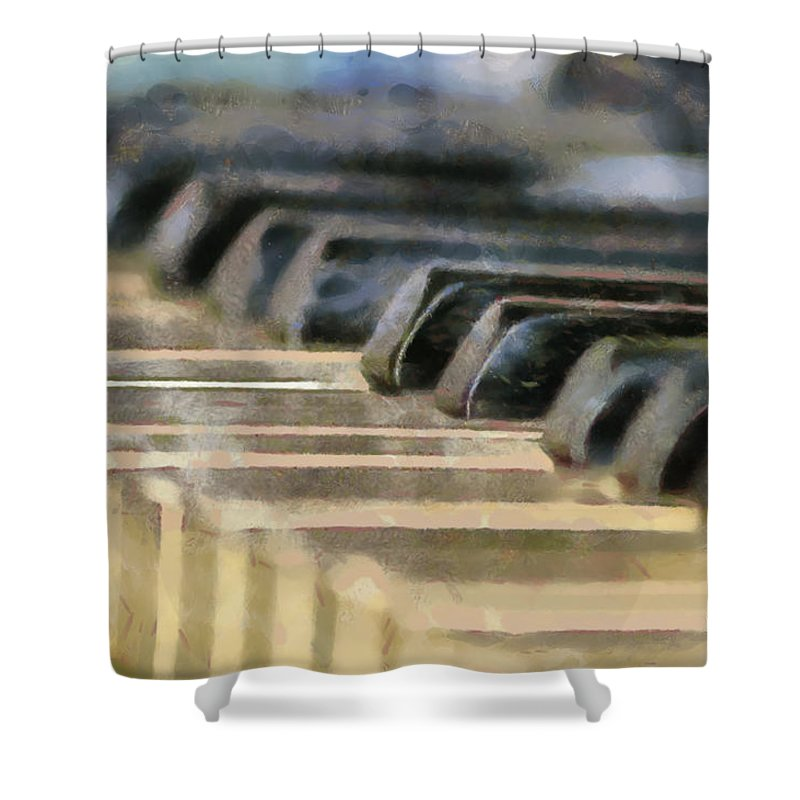 Piano Shower Curtain featuring the painting Keys To My Heart by Lynne Jenkins
