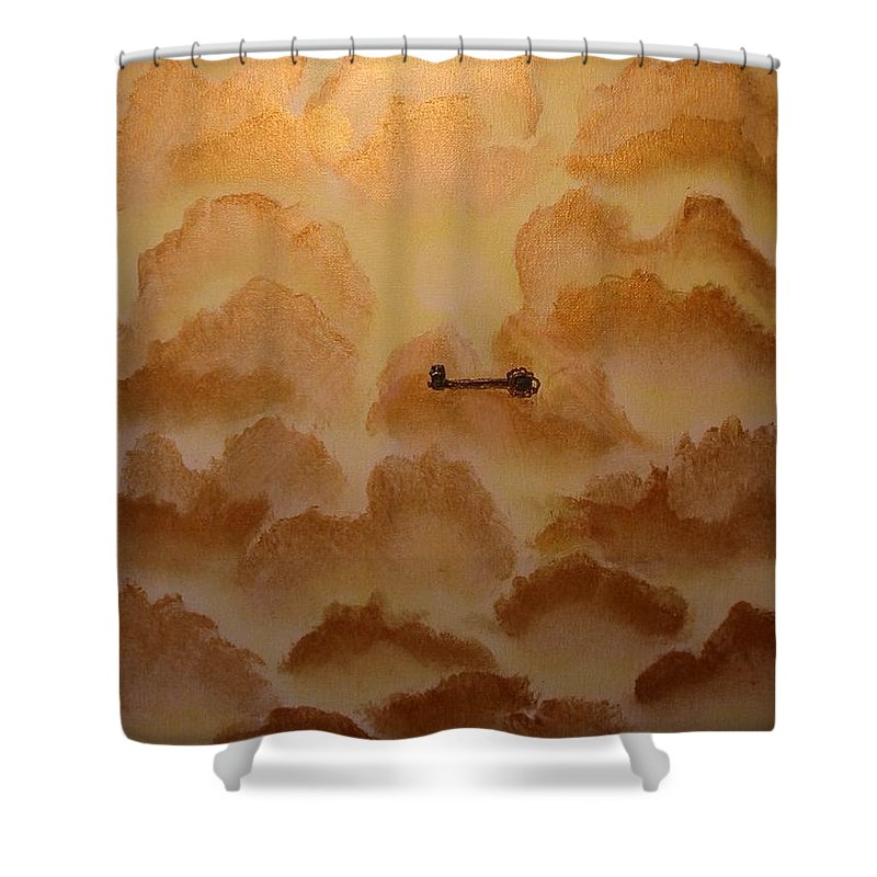 Gold Shower Curtain featuring the painting Keys To The Kingdom by Laurie Kidd