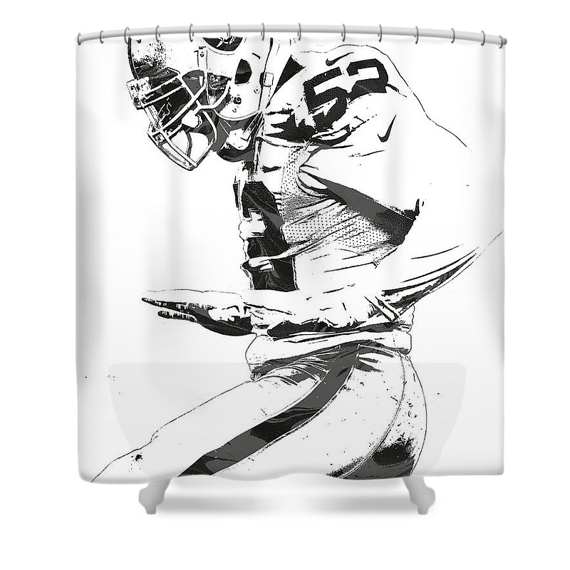Khalil Mack Shower Curtain Featuring The Mixed Media Oakland Raiders Pixel Art 2 By