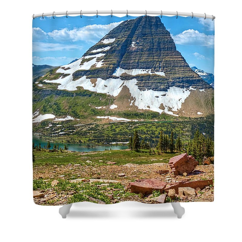 Kid Mountain Goat Shower Curtain featuring the photograph Kid And The Bear In Widescape by James Anderson