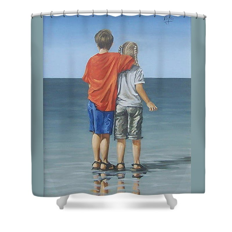 Kids Shower Curtain featuring the painting Kids by Natalia Tejera