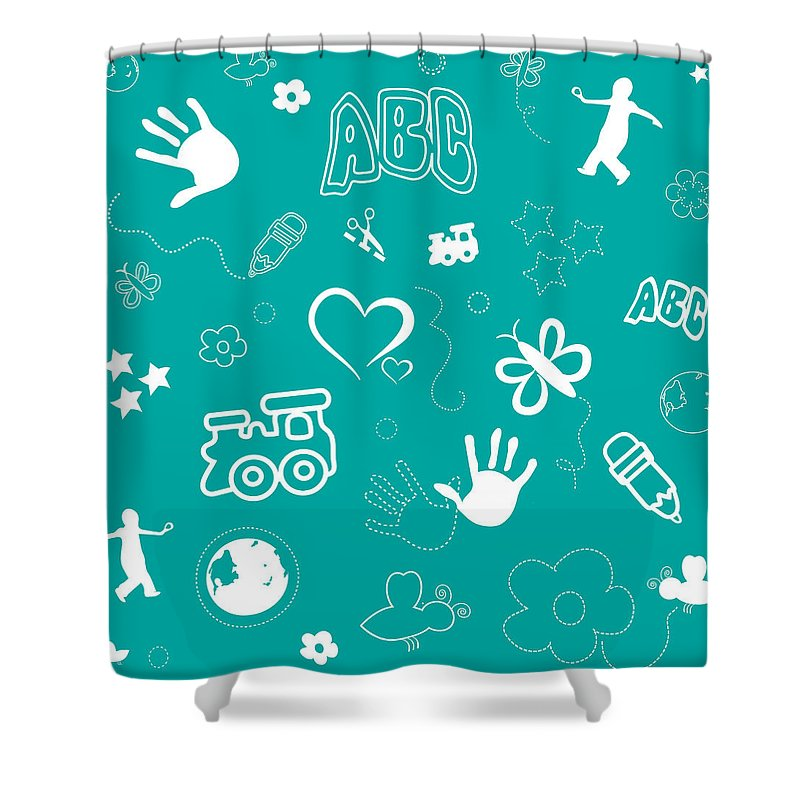 Abc Shower Curtain Featuring The Drawing Kids Playful Background Pattern And Shapes By Serena King