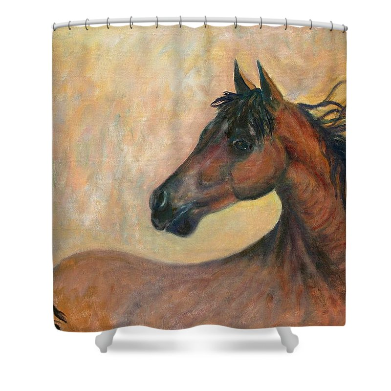 Horse Shower Curtain featuring the painting Kiger Mustang by Ben Kiger