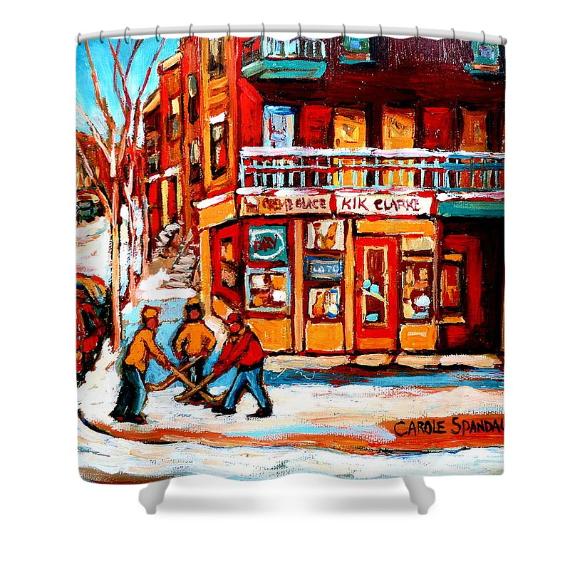 Montreal Streetscene Shower Curtain featuring the painting Kik Cola Depanneur by Carole Spandau