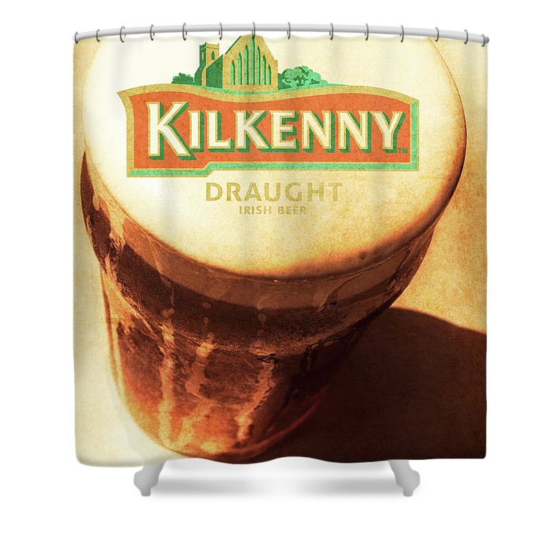 Kilkenny Shower Curtain featuring the photograph Kilkenny Draught Irish Beer Rusty Tin Sign by Jorgo Photography - Wall Art Gallery