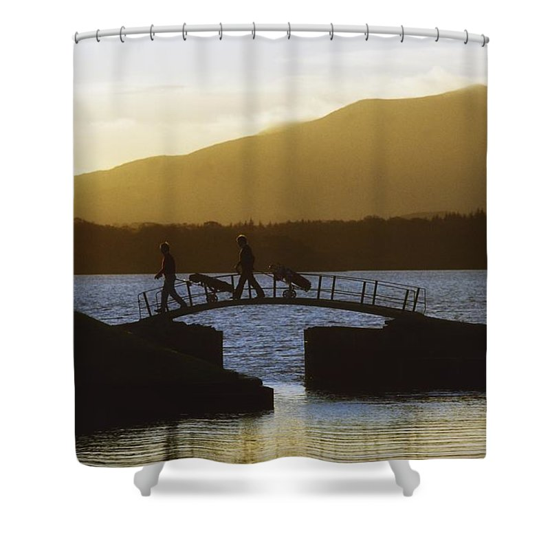Bridge Shower Curtain featuring the photograph Killarney Golf Club, Lough Leane, Co by The Irish Image Collection