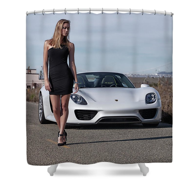 Kim Shower Curtain featuring the photograph #kim And #porsche #918spyder #print by ItzKirb Photography