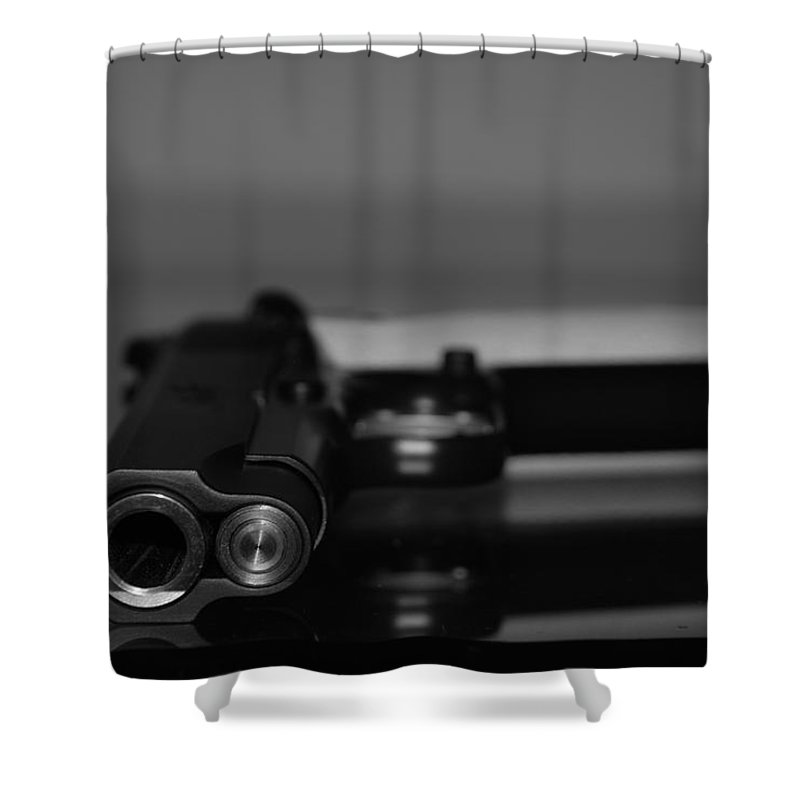 45 Auto Shower Curtain featuring the photograph Kimber 45 by Rob Hans