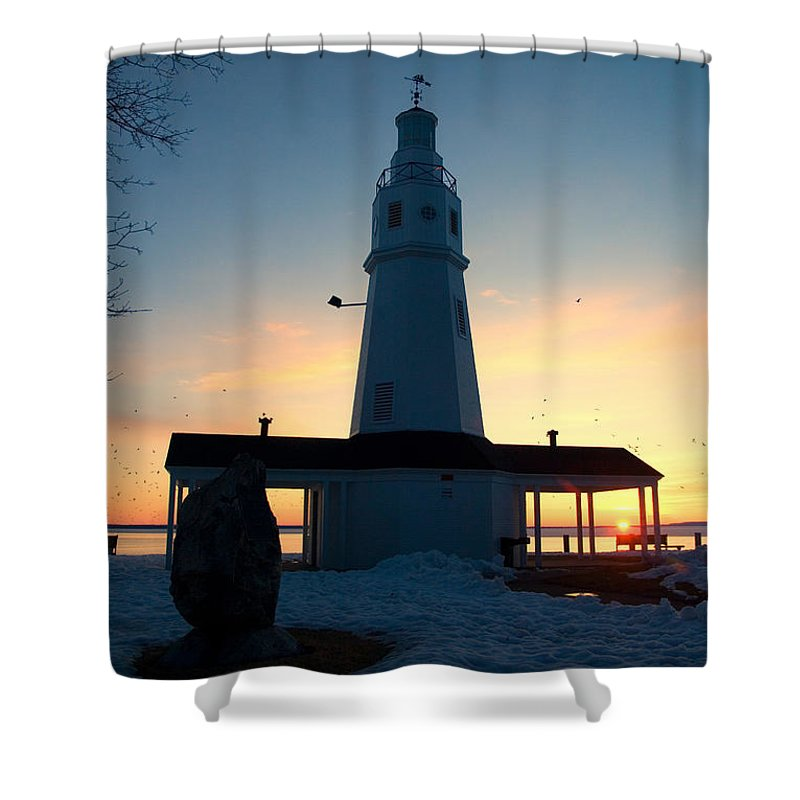 Lighthouse Shower Curtain featuring the photograph Kimberly Pointe Lighthouse by Joel Witmeyer