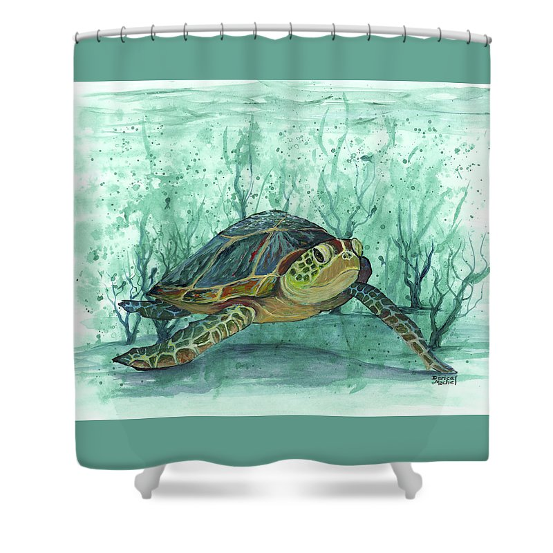 Darice Shower Curtain featuring the painting Kimo Under The Sea by Darice Machel McGuire