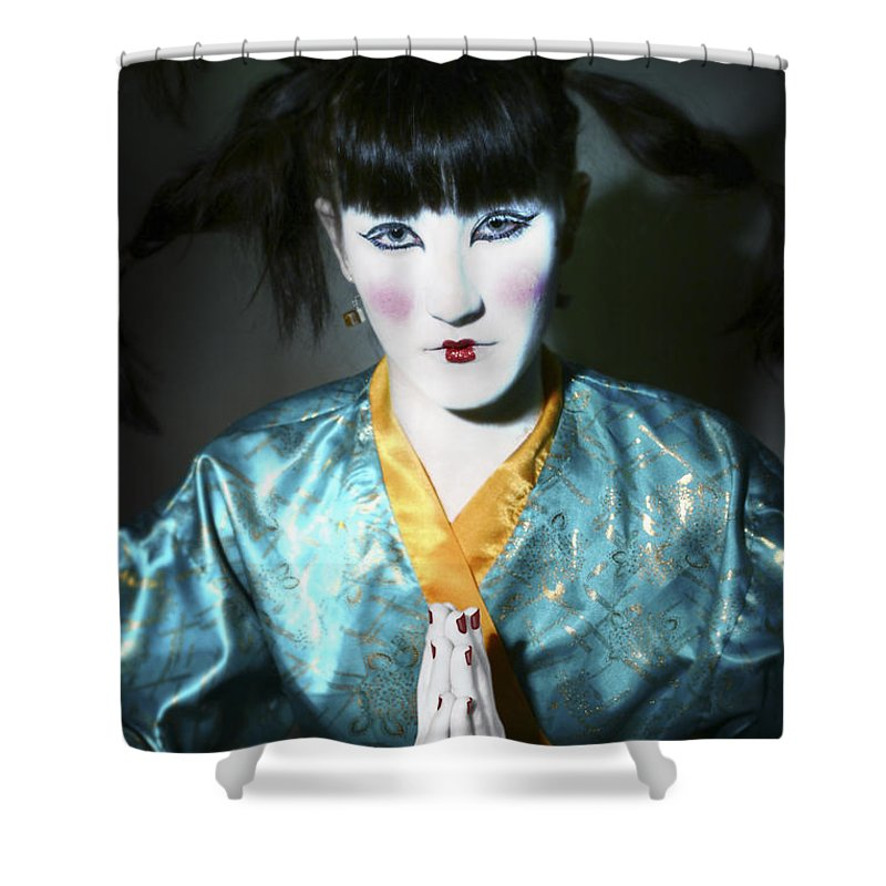 Japanese Shower Curtain featuring the photograph Kimono by Raphael Ben Dor