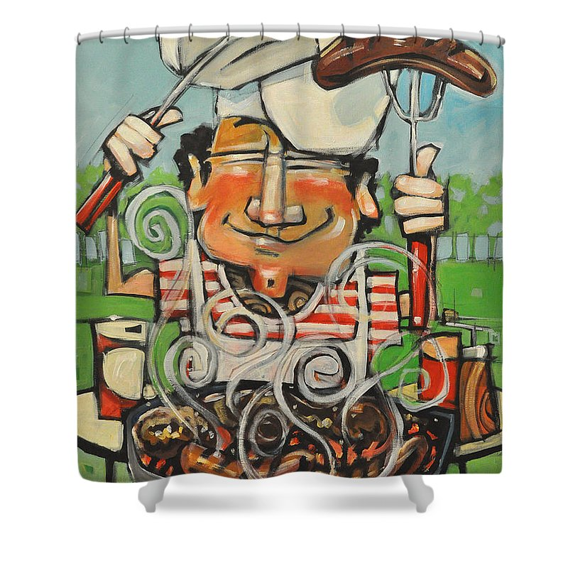 Guy Shower Curtain featuring the painting King Of The Grill by Tim Nyberg