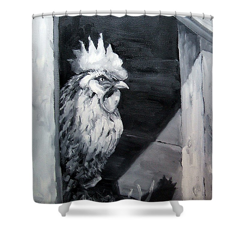 Animal Shower Curtain featuring the painting King Of The Roost by Diane Kraudelt