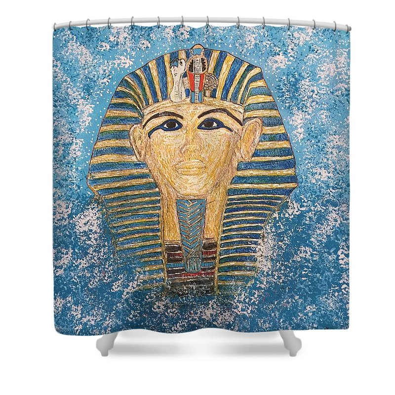 King Tut Shower Curtain featuring the painting King Tutankhamun Face Mask by Kathy Marrs Chandler