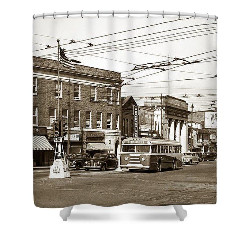 Kingston Corners Shower Curtain featuring the photograph Kingston Corners Kingston Pa Early 1950s by Arthur Miller