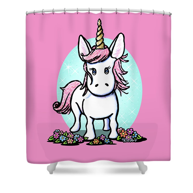 Unicorn Shower Curtain Featuring The Drawing Kiniart Sparkle By Kim Niles