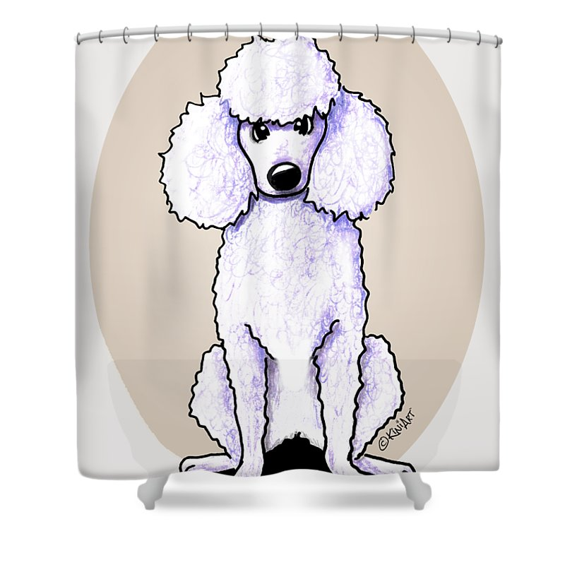 Kiniart White Poodle Shower Curtain For Sale By Kim Niles