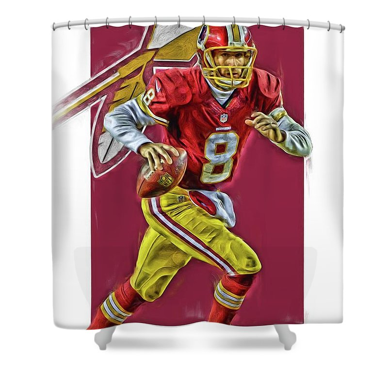 Kirk Cousins Shower Curtain Featuring The Mixed Media Washington Redskins Oil Art By Joe