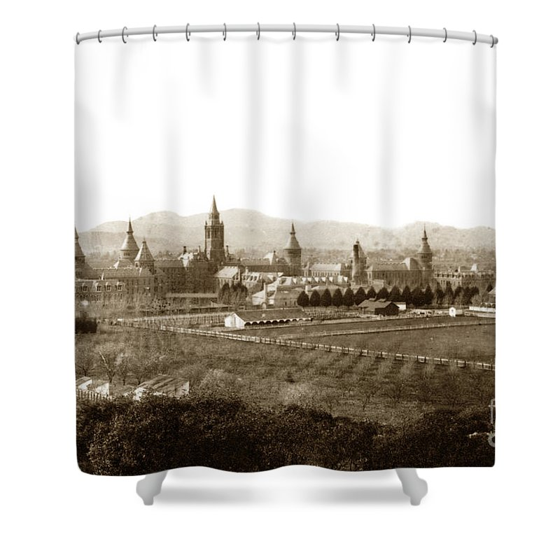 Kirkbride Shower Curtain featuring the photograph Kirkbride At Napa State Hospital In California Circa 1890 by California Views Archives Mr Pat Hathaway Archives
