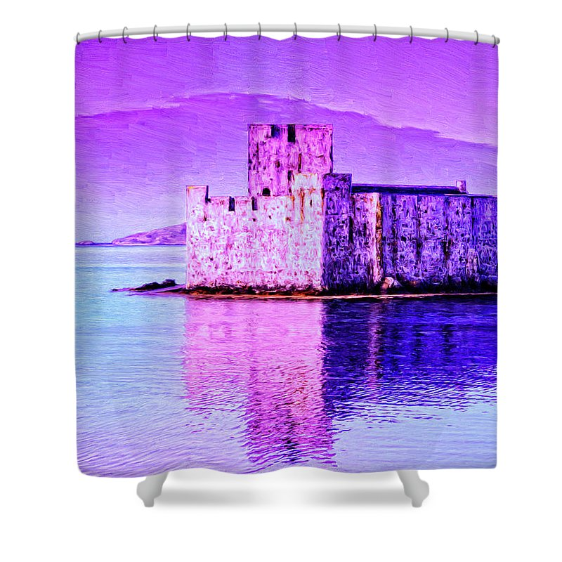 Castle Shower Curtain featuring the painting Kisimul Castle by Dominic Piperata