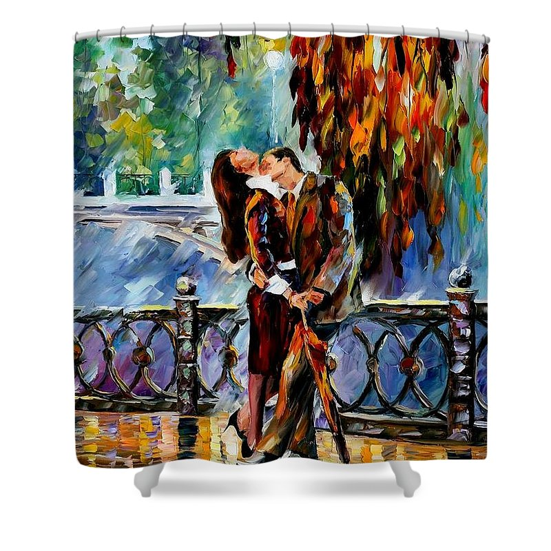 Afremov Shower Curtain featuring the painting Kiss After The Rain by Leonid Afremov
