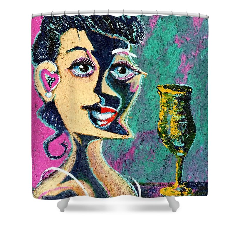 Woman Shower Curtain featuring the painting Kiss From The Night by Dennis Tawes