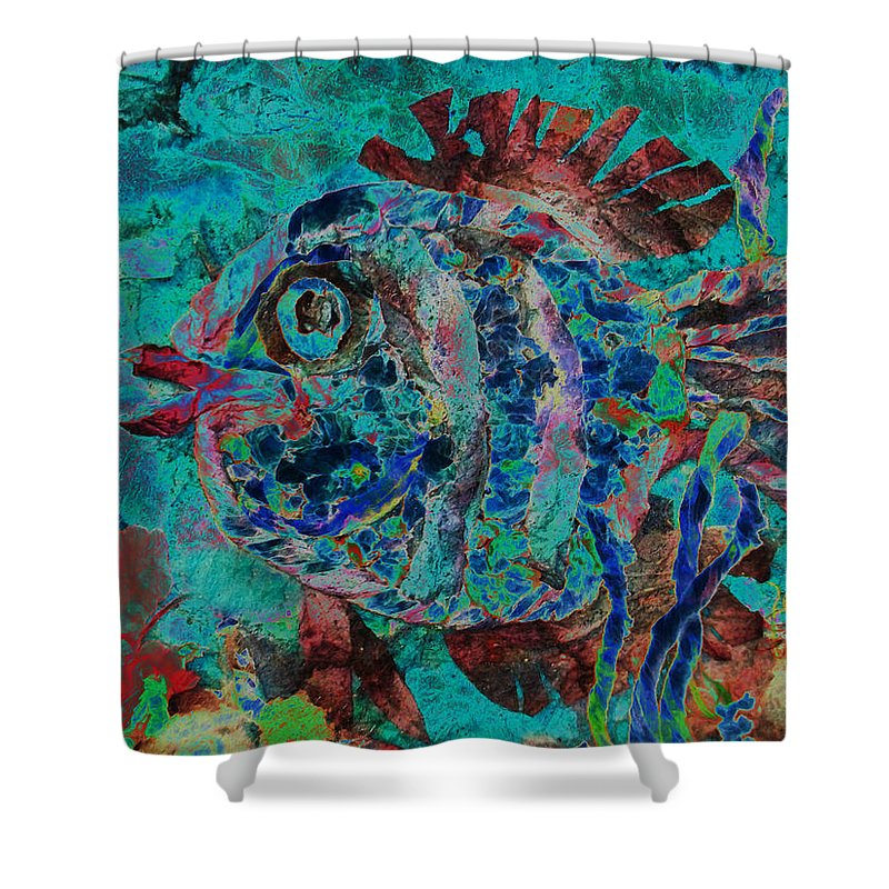 Fish Shower Curtain featuring the mixed media Kiss Me by Sue Duda
