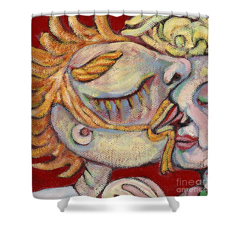 Kissing Shower Curtain featuring the painting Kiss on the Nose by Michelle Spiziri