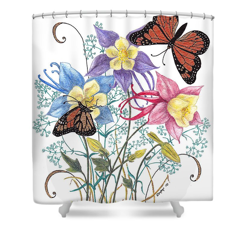 Monarch Butterflies Shower Curtain featuring the painting Kiss The Sun by Stanza Widen