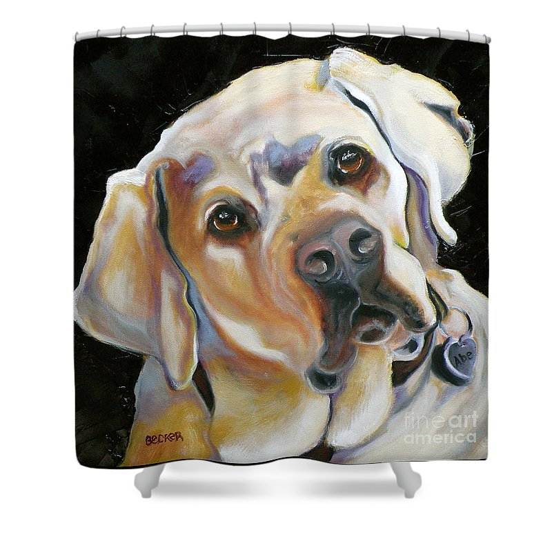 Yellow Lab Paintings Shower Curtain featuring the painting Kissably Close Lab by Susan A Becker