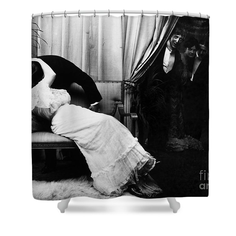 -kissing- Shower Curtain featuring the photograph Kissing, C1900 by Granger