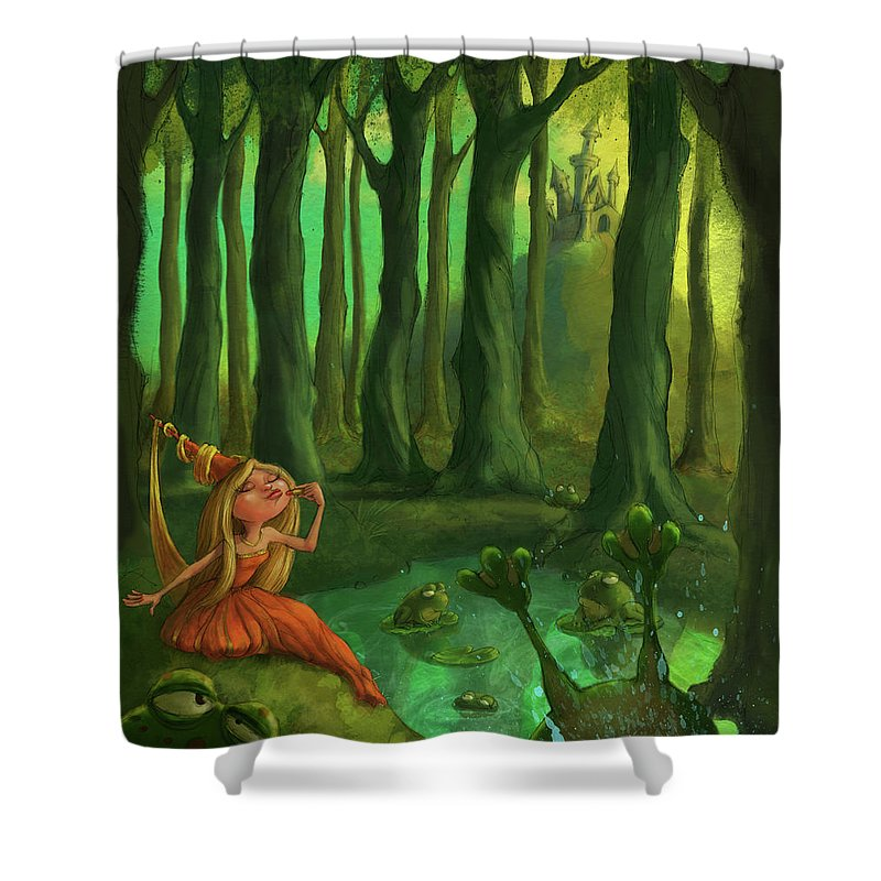 Princess Shower Curtain featuring the digital art Kissing Frogs by Andy Catling