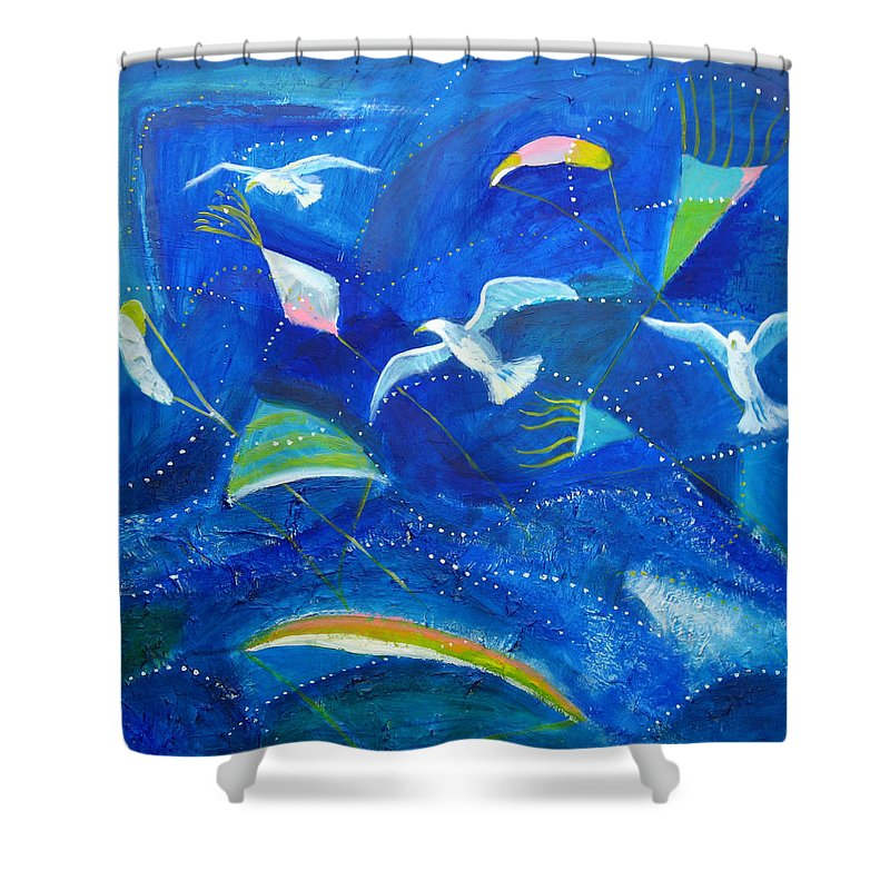 Seagull Shower Curtain featuring the painting Kites And Seagulls Over Pacific by Aliza Souleyeva-Alexander