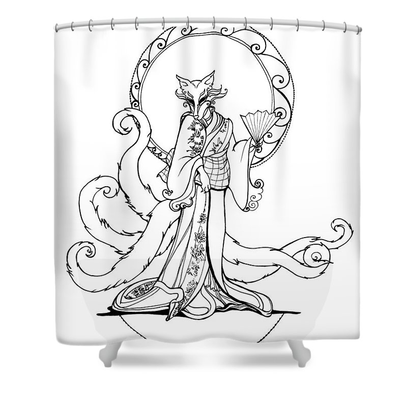 Foxy Shower Curtain featuring the drawing Kitsune Lady by Katherine Nutt