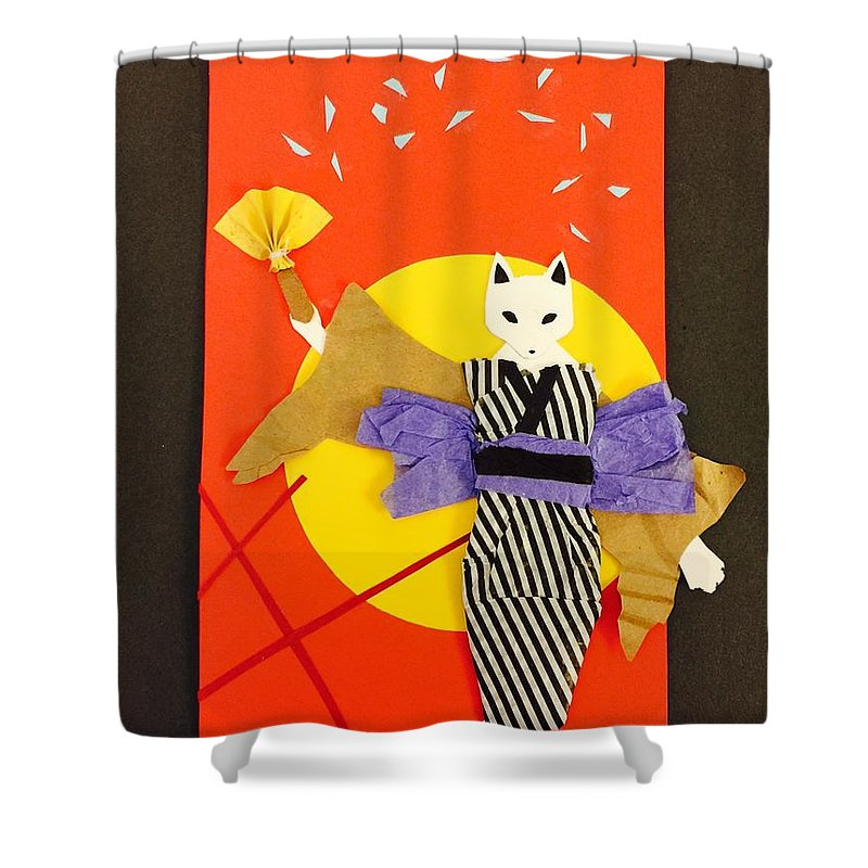 Art & Collectibles Shower Curtain featuring the mixed media Kitsune Maiden by AmaSepia Gittens-Jones' Fox And Fantasy Designs