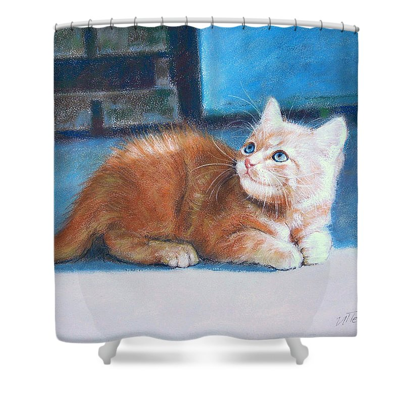 Cats Shower Curtain featuring the pastel Kitten by Iliyan Bozhanov