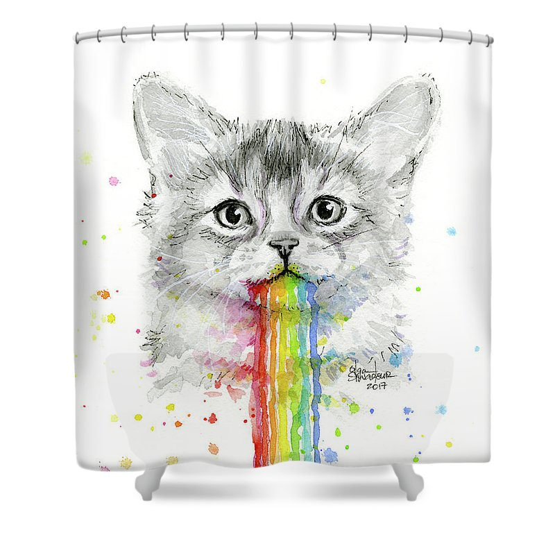 Kitten Shower Curtain Featuring The Painting Puking Rainbows By Olga Shvartsur