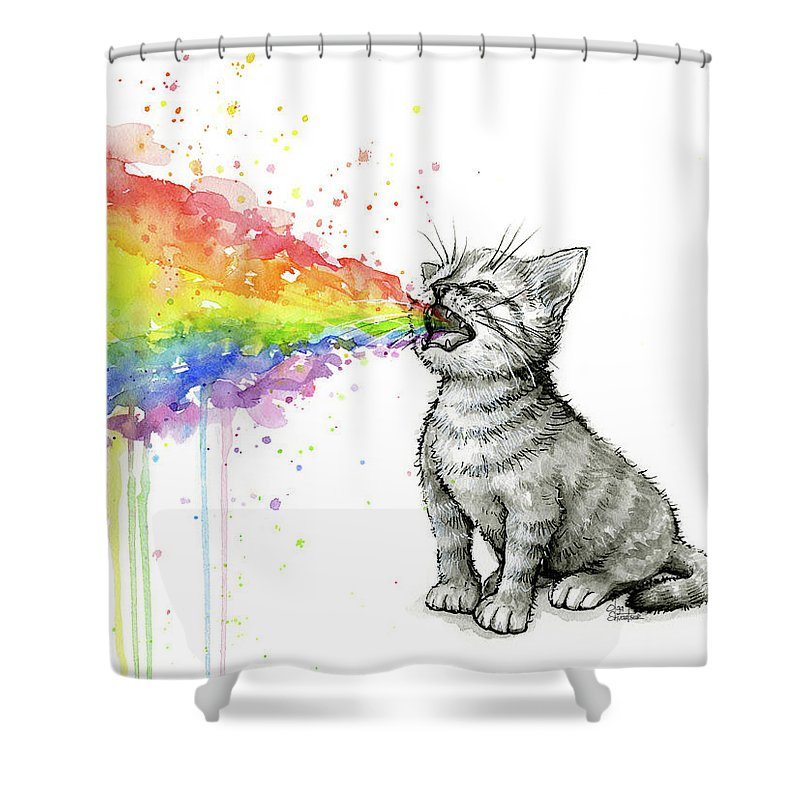 Kitten Shower Curtain Featuring The Painting Tastes Rainbow By Olga Shvartsur