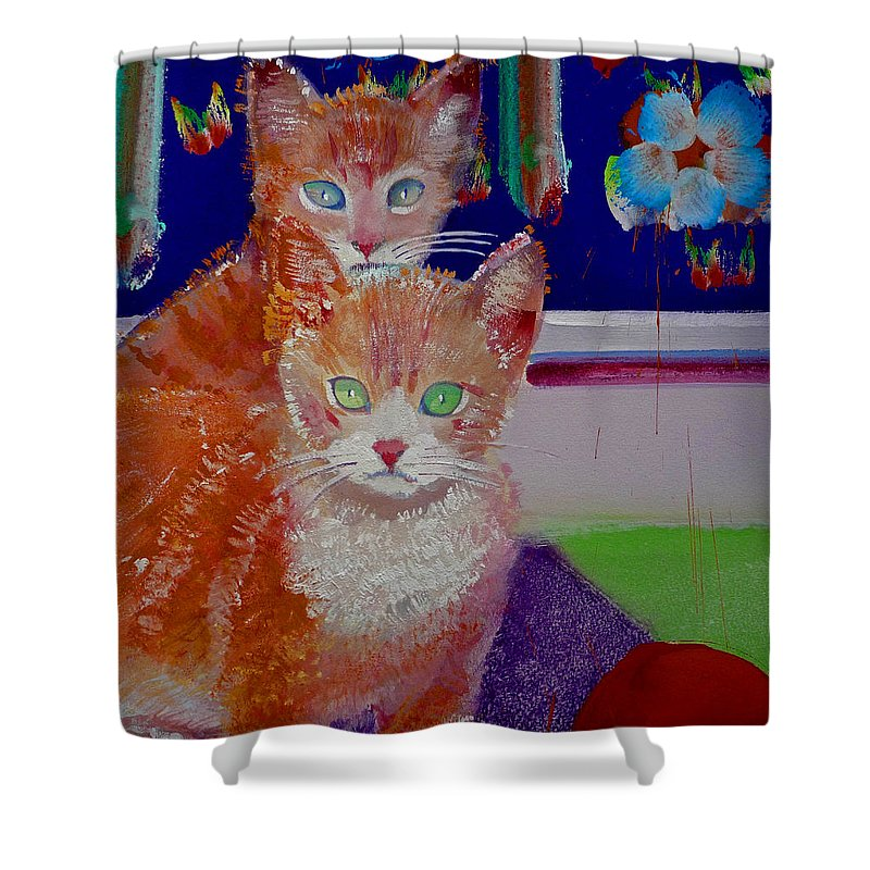 Kittens Shower Curtain featuring the painting Kittens With Wild Wallpaper by Charles Stuart