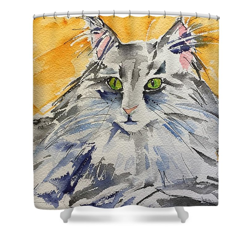 Cat Shower Curtain featuring the painting Kitty by Bonny Butler
