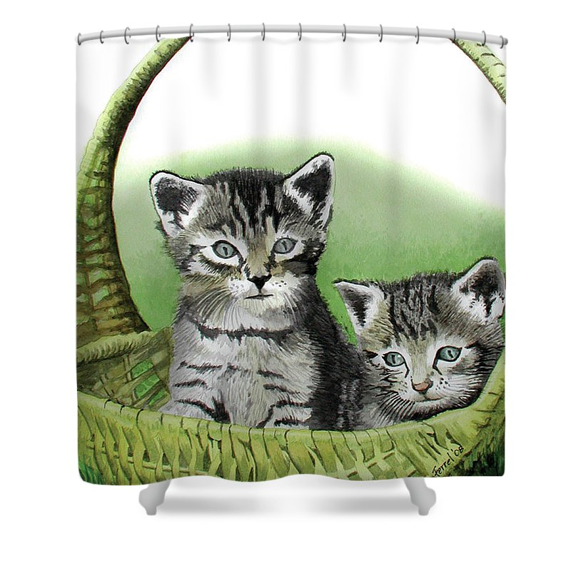 Cat Shower Curtain featuring the painting Kitty Caddy by Ferrel Cordle