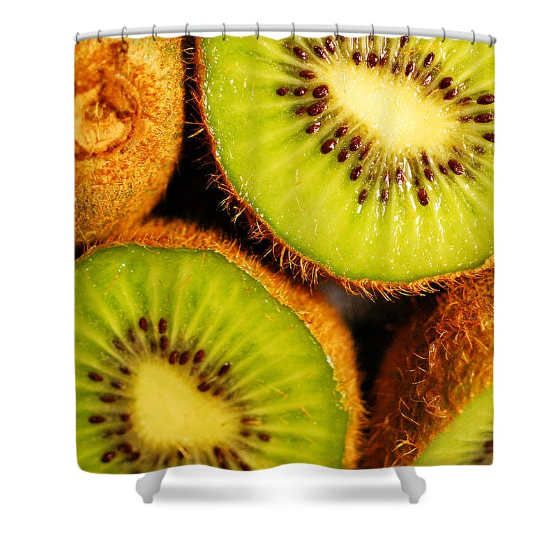 Kiwi Shower Curtain featuring the photograph Kiwi Fruit by Nancy Mueller