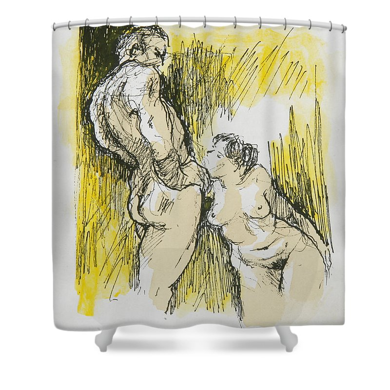 Explicit Art Shower Curtain featuring the painting Kneel by Garry Cooper