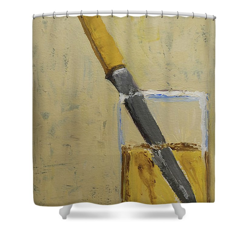 Knife In Glass Shower Curtain featuring the painting Knife In Glass - After Diebenkorn by Mini Arora