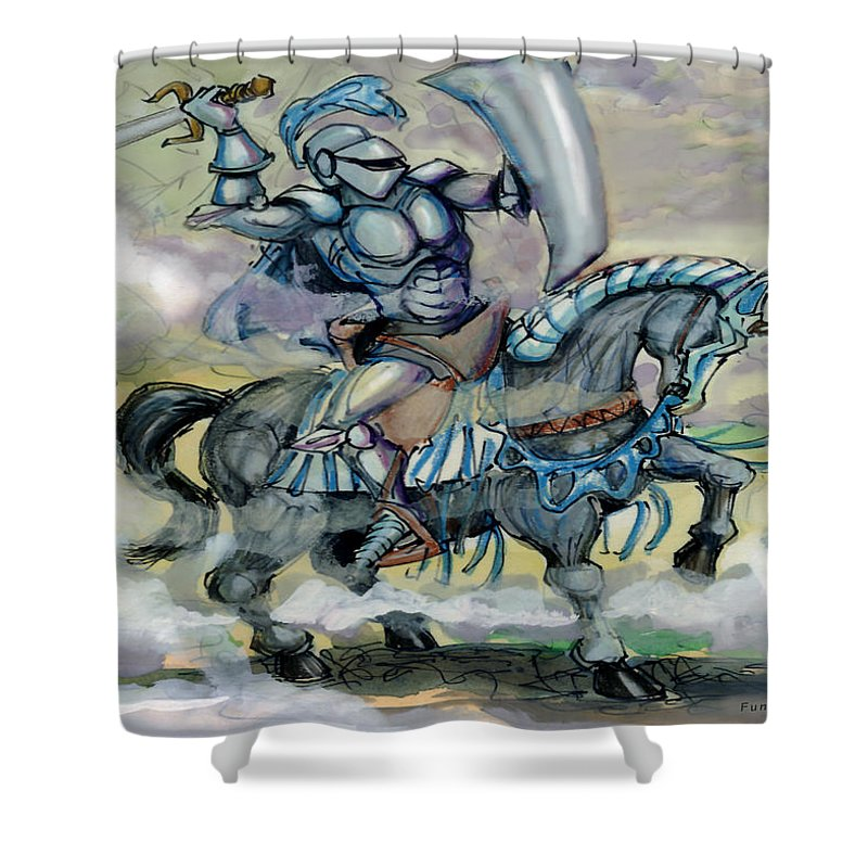 Knight Shower Curtain featuring the greeting card Knight by Kevin Middleton