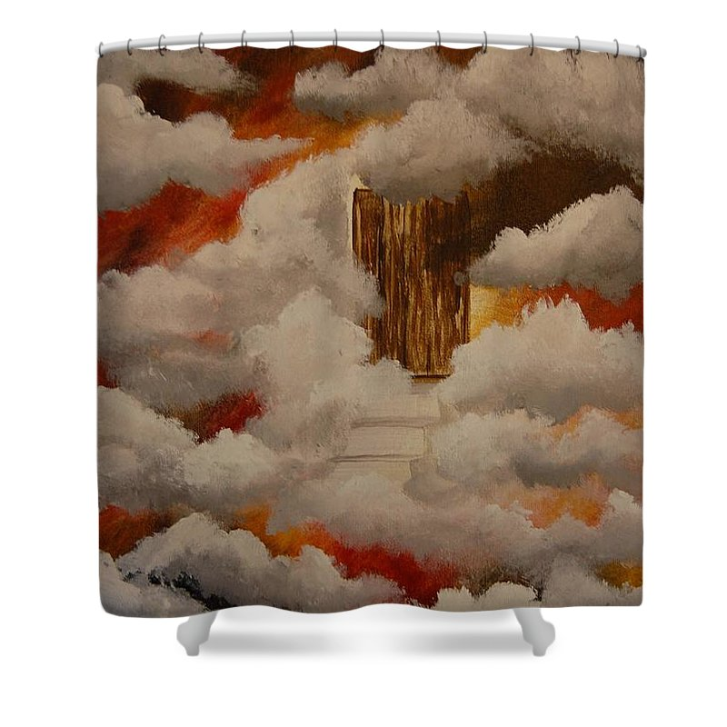 Acrylic Artwork Shower Curtain featuring the painting Knock And The Door Will Open by Laurie Kidd
