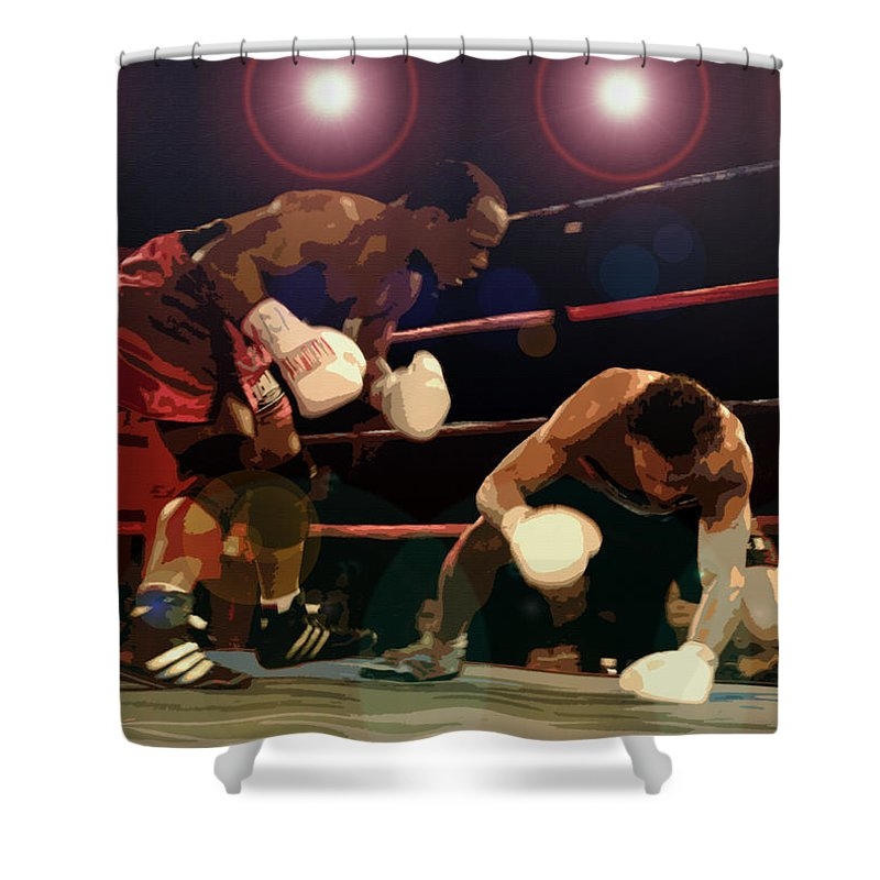 Artwork Shower Curtain featuring the painting Knockdown by David Lee Thompson